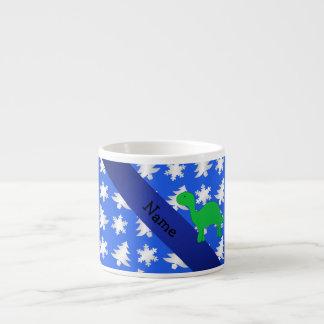 Personalized name dinosaur blue snowflakes trees espresso mugs