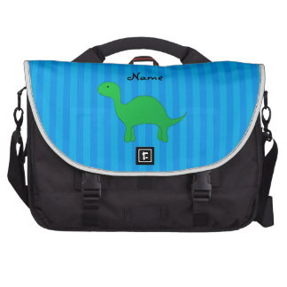 Personalized name dinosaur blue stripes bags for laptop