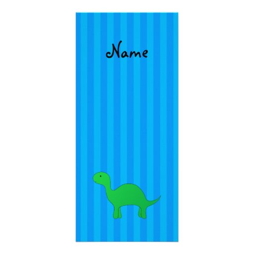 Personalized name dinosaur blue stripes personalized rack card