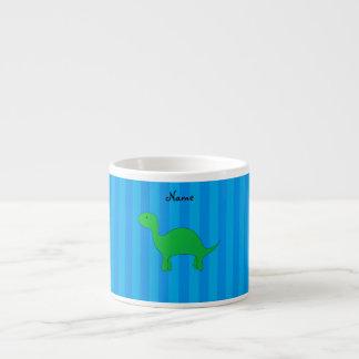 Personalized name dinosaur blue stripes espresso mugs