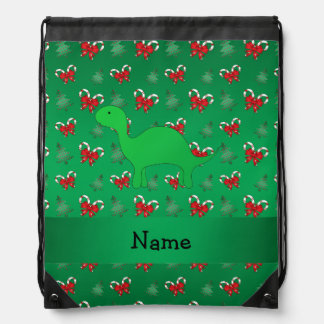 Personalized name dinosaur green candy canes bows drawstring bag