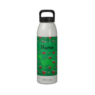 Personalized name dinosaur green candy canes bows water bottle