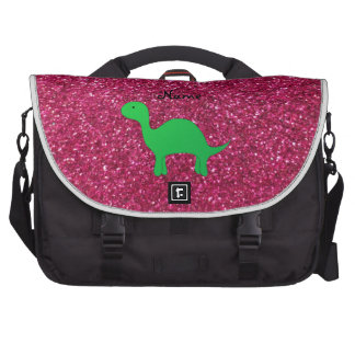 Personalized name dinosaur pink glitter laptop commuter bag