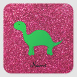 Personalized name dinosaur pink glitter square stickers