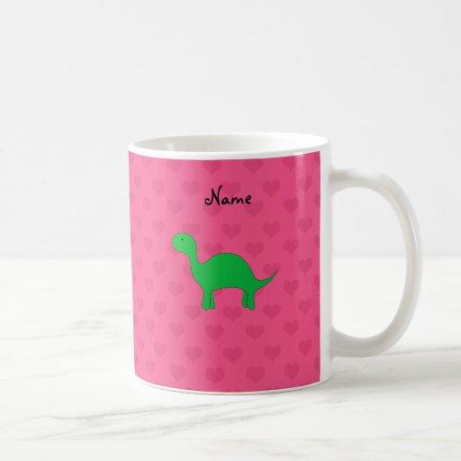 Personalized name dinosaur pink hearts classic white coffee mug
