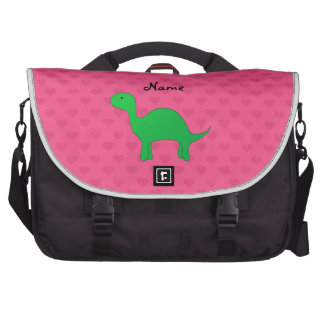 Personalized name dinosaur pink hearts commuter bag