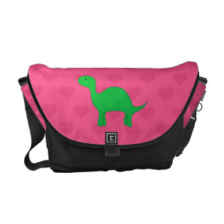 Personalized name dinosaur pink hearts messenger bags