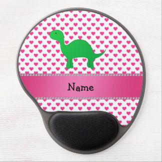 Personalized name dinosaur pink hearts polka dots gel mouse pad