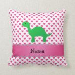Personalized name dinosaur pink hearts polka dots pillows