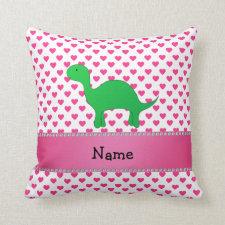 Personalized name dinosaur pink hearts polka dots throw pillows