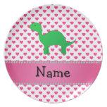 Personalized name dinosaur pink hearts polka dots plates