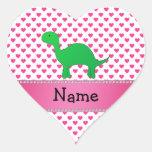 Personalized name dinosaur pink hearts polka dots heart sticker