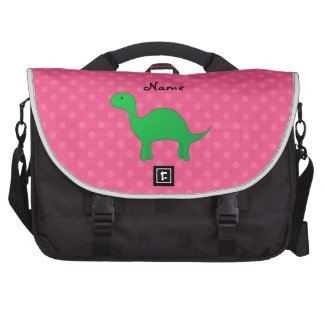 Personalized name dinosaur pink polka dots laptop bags