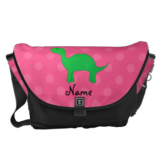 Personalized name dinosaur pink polka dots messenger bags