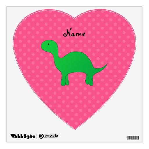 Personalized name dinosaur pink polka dots wall decal