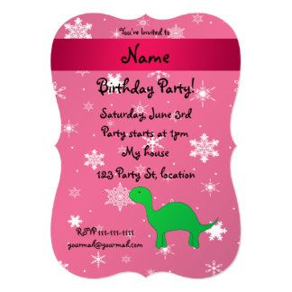 Personalized name dinosaur pink snowflakes card