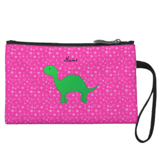 Personalized name dinosaur pink stars wristlet purses
