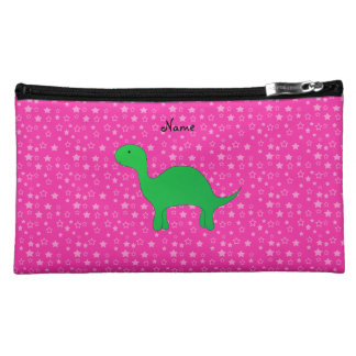 Personalized name dinosaur pink stars cosmetic bags
