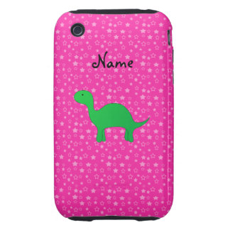 Personalized name dinosaur pink stars tough iPhone 3 covers