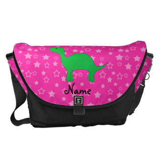 Personalized name dinosaur pink stars courier bag
