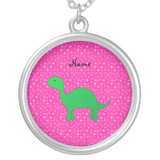 Personalized name dinosaur pink stars custom necklace