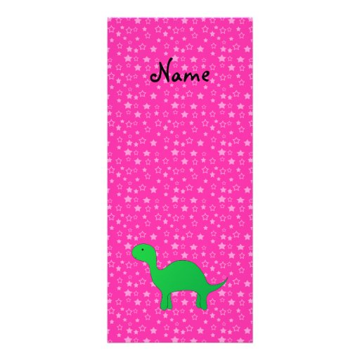 Personalized name dinosaur pink stars full color rack card