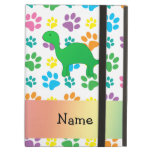 Personalized name dinosaur rainbow paws iPad cover