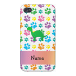 Personalized name dinosaur rainbow paws iPhone 4 case