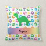 Personalized name dinosaur rainbow paws throw pillow