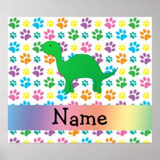 Personalized name dinosaur rainbow paws poster