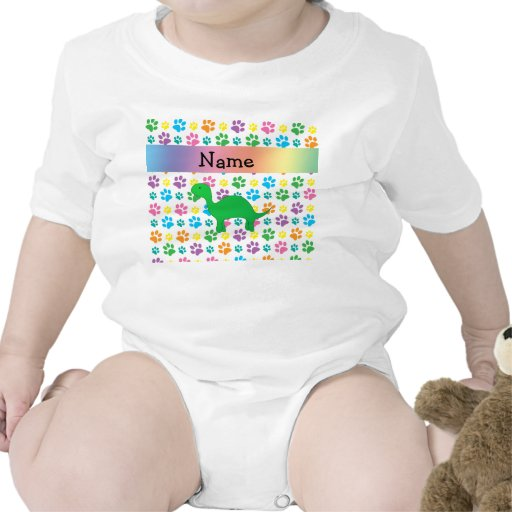 Personalized name dinosaur rainbow paws rompers