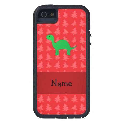 Personalized name dinosaur red christmas trees iPhone 5 case