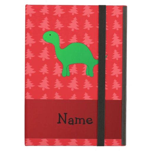 Personalized name dinosaur red christmas trees iPad folio cases