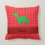 Personalized name dinosaur red christmas trees throw pillow