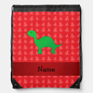 Personalized name dinosaur red christmas trees cinch bags