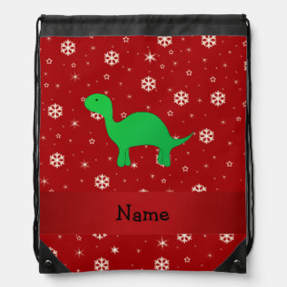 Personalized name dinosaur red snowflakes cinch bag