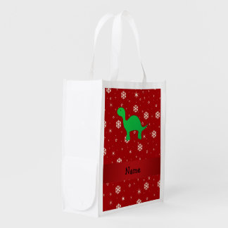 Personalized name dinosaur red snowflakes market tote