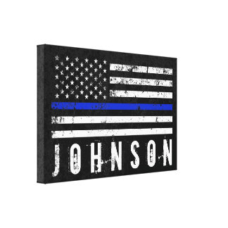 Personalized Name Distressed Police Flag Canvas Print