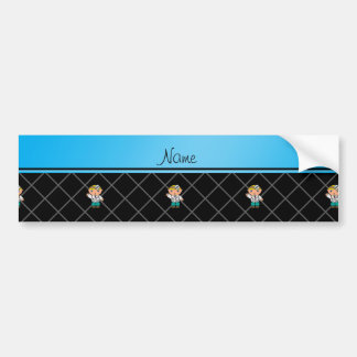 Personalized name doctor black criss cross car bumper sticker