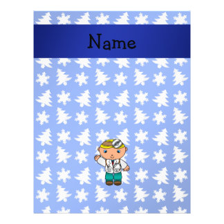 Personalized name doctor blue snowflakes trees full color flyer