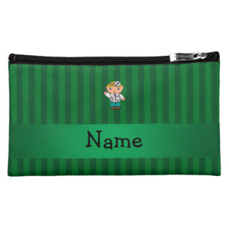 Personalized name doctor green stripes cosmetic bag