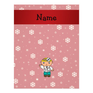 Personalized name doctor red snowflakes custom flyer