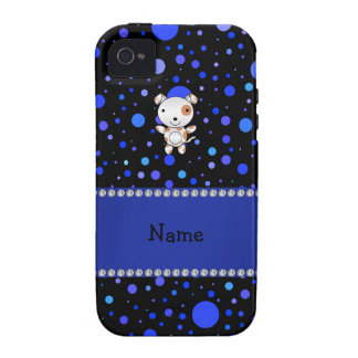 Personalized name dog black blue polka dots iPhone 4 covers