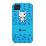 Personalized name dog blue anchors pattern vibe iPhone 4 cover