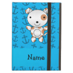 Personalized name dog blue anchors pattern iPad cover