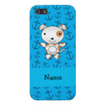 Personalized name dog blue anchors pattern cover for iPhone 5