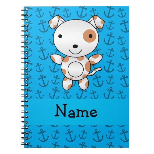 Personalized name dog blue anchors pattern note book
