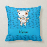 Personalized name dog blue anchors pattern pillows