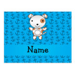 Personalized name dog blue anchors pattern postcard