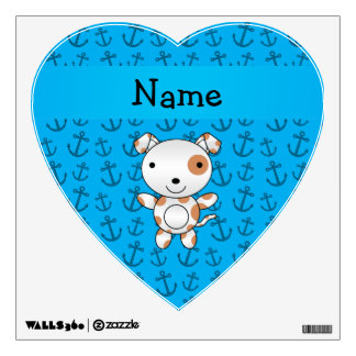 Personalized name dog blue anchors pattern wall decal